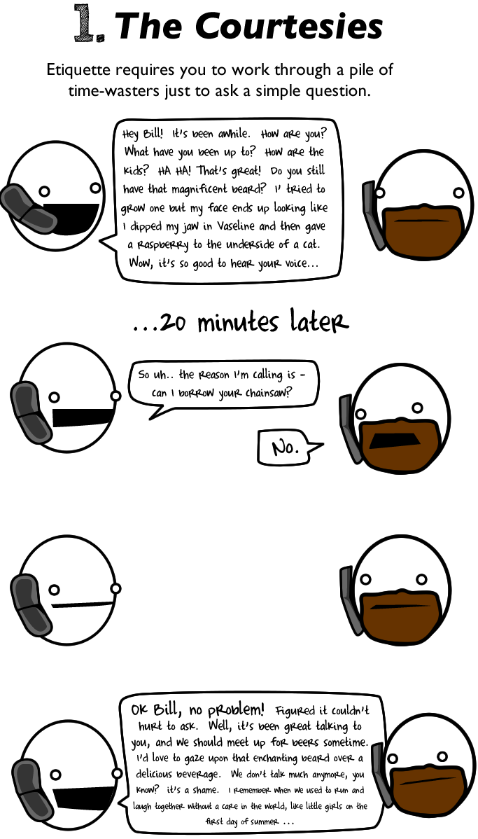 1 - 10 reasons to avoid talking to people on the phone.