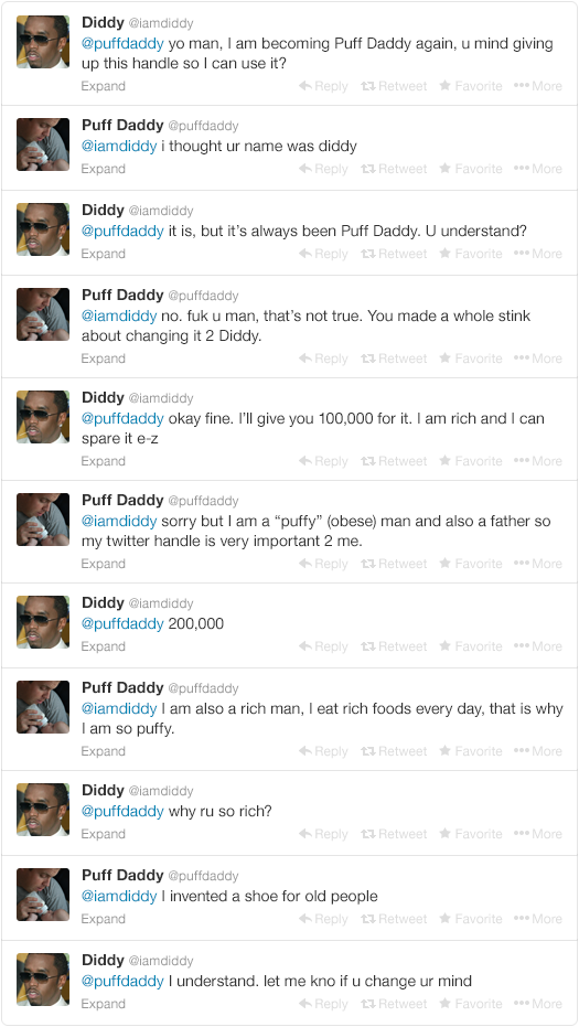 1 - p. diddy tries to change his name back to puff daddy, but twitter doesn't give in so easy