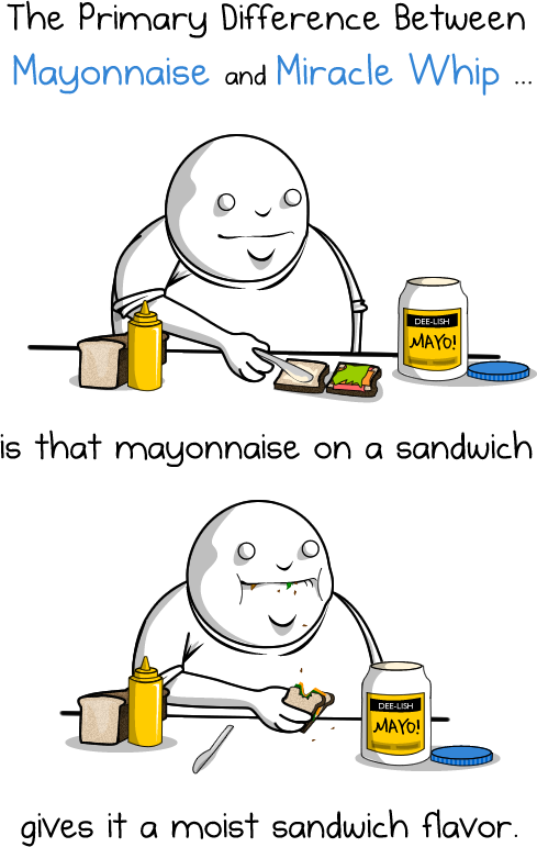 1 - the primary difference between mayonnaise and miracle whip