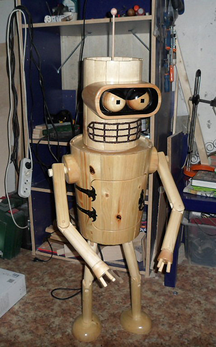 148268805017621497 - robot bender made from the wood
