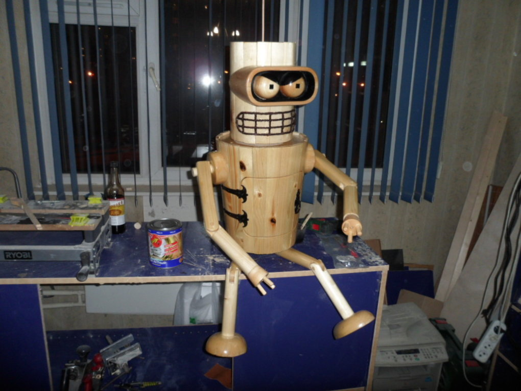1482688922167173838 - robot bender made from the wood