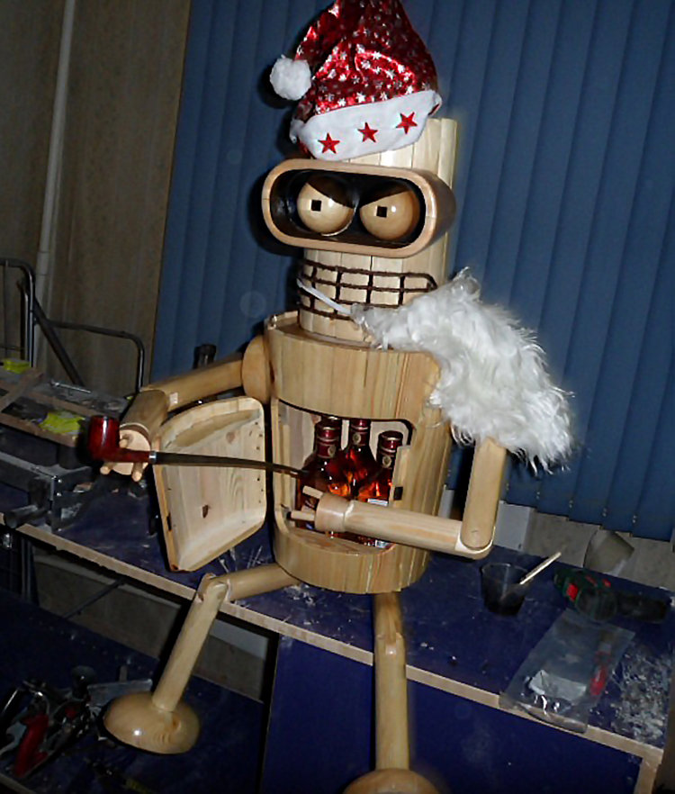 1482688940144429932 - robot bender made from the wood
