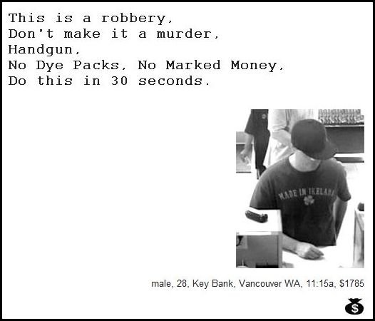 16 - demand notes from real bank robbers