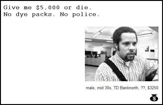 18 - demand notes from real bank robbers