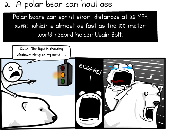 2 - 6 reasons to ride a polar bear to work