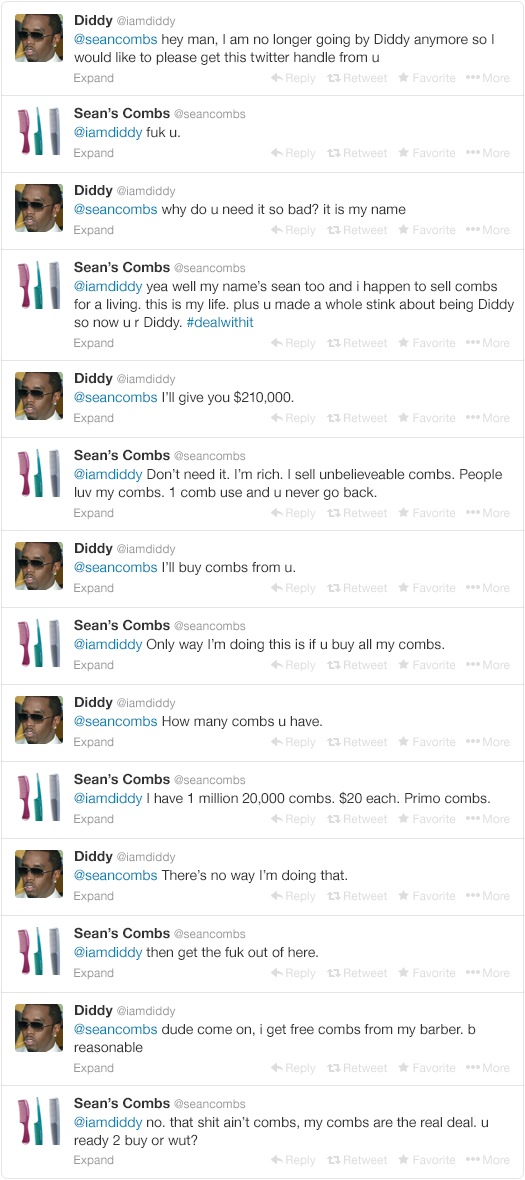 2 - p. diddy tries to change his name back to puff daddy, but twitter doesn't give in so easy