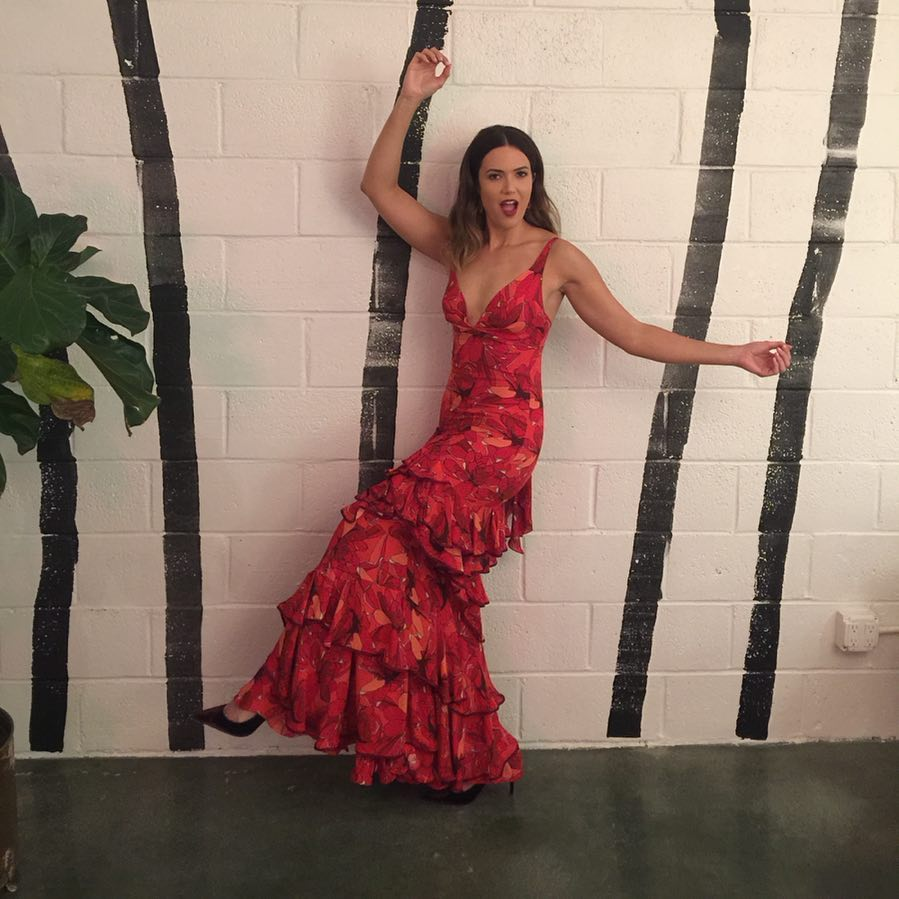 This image has an empty alt attribute; its file name is mandy-moore-red-dress.jpg