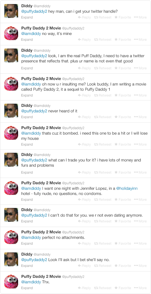 3 - p. diddy tries to change his name back to puff daddy, but twitter doesn't give in so easy