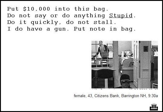 33 - demand notes from real bank robbers