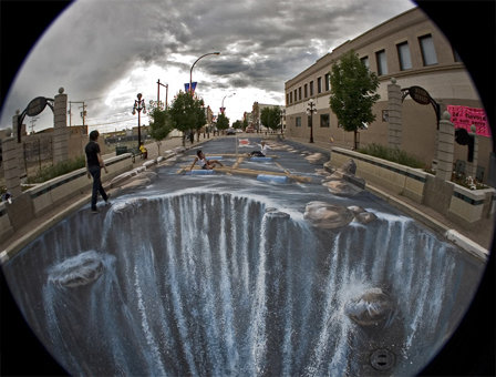3d graffitti - amazing chalk drawing!