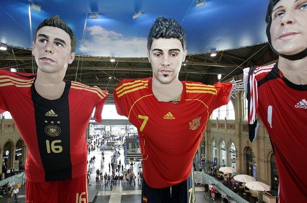 4 - giant statues of football players