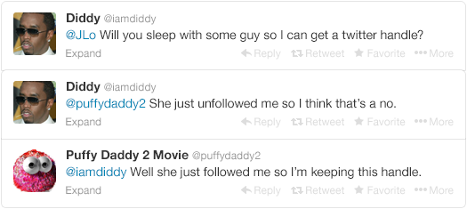 4 - p. diddy tries to change his name back to puff daddy, but twitter doesn't give in so easy