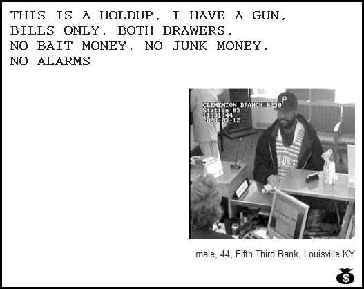 45 - demand notes from real bank robbers