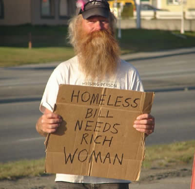 6 - homeless people with funny signs