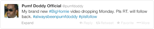 7 - p. diddy tries to change his name back to puff daddy, but twitter doesn't give in so easy