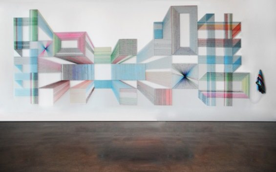 c0tgn2x - texas artist deconstructs sarape blankets and creates these amazing geometric patterns from the threads