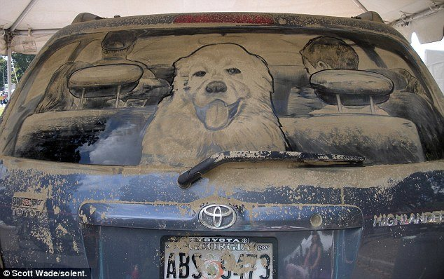 amazing portrait drawn dust suvs back window