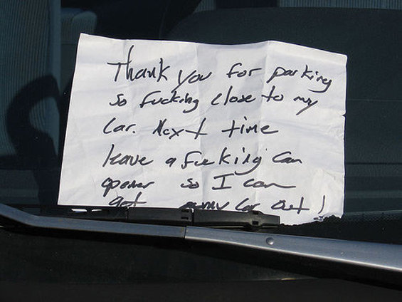 angrynote1 - angry notes left on cars