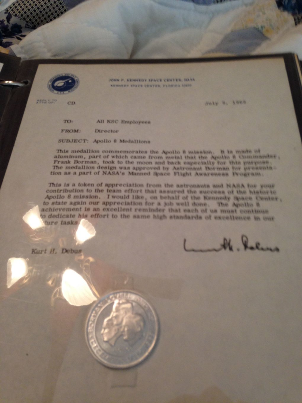 apollo medallion letter