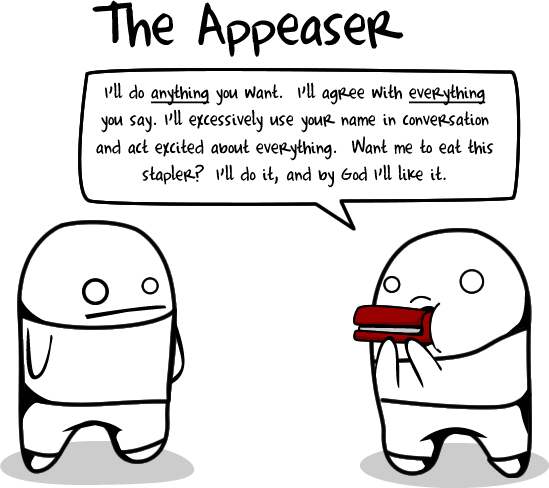 appeaser - 10 types of crappy interviewees