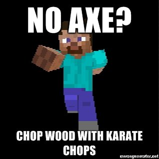 axe chop wood karate chops