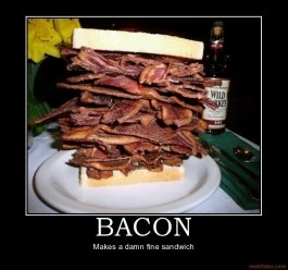 bacon bacon sandwich food funny demotivational poster