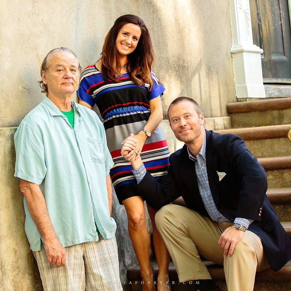 bill murray crashes engagement photo shoot