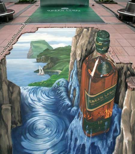 bottle painted sidewalk