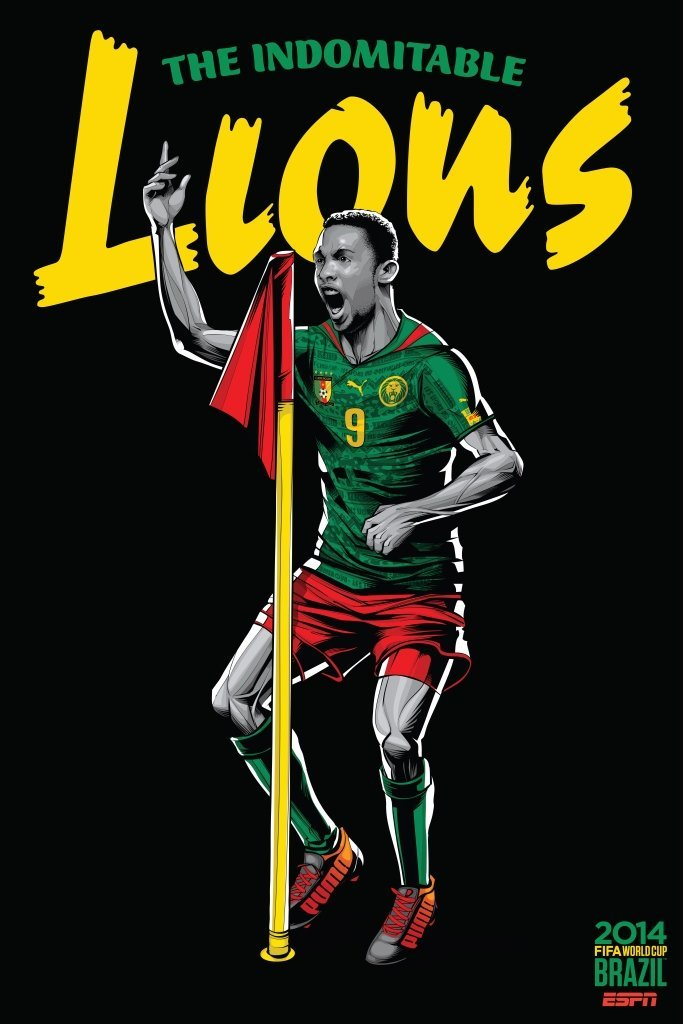 cameroon - world cup 2014 team posters