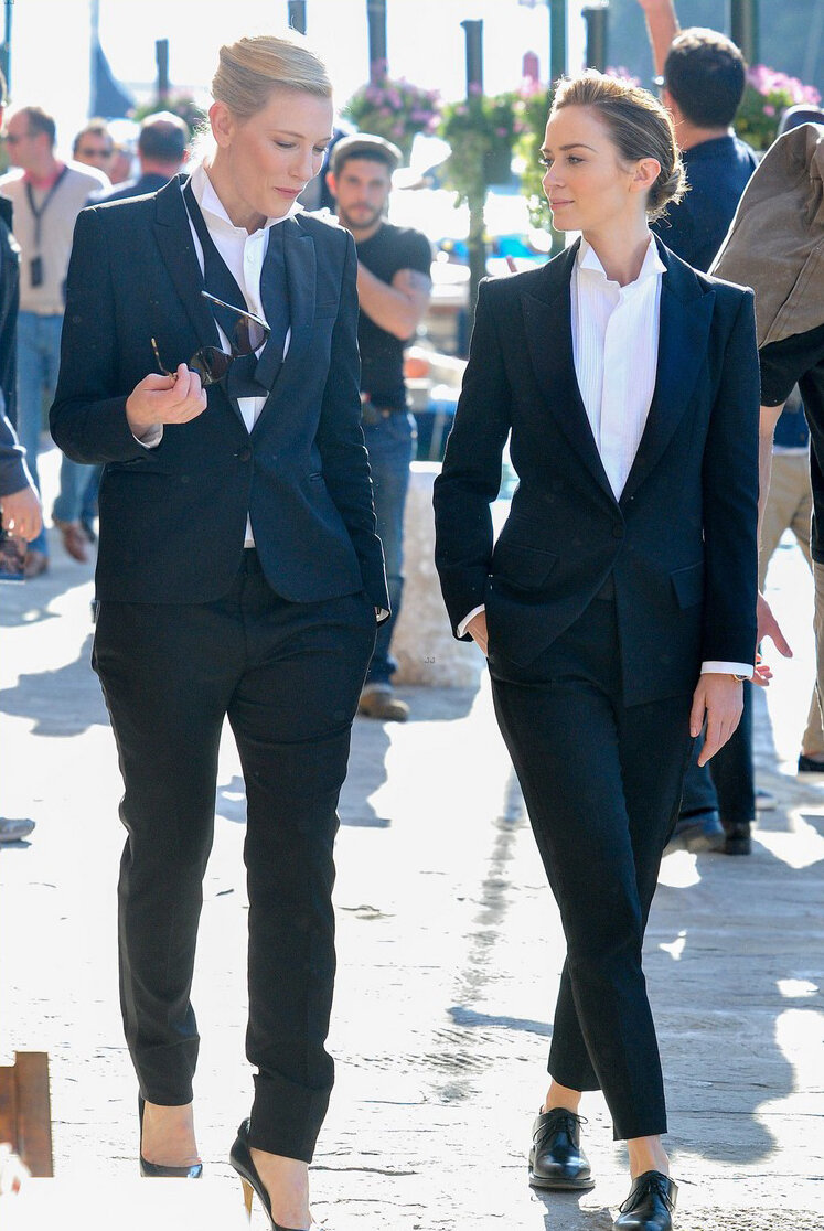 cate blanchett emily blunt suits