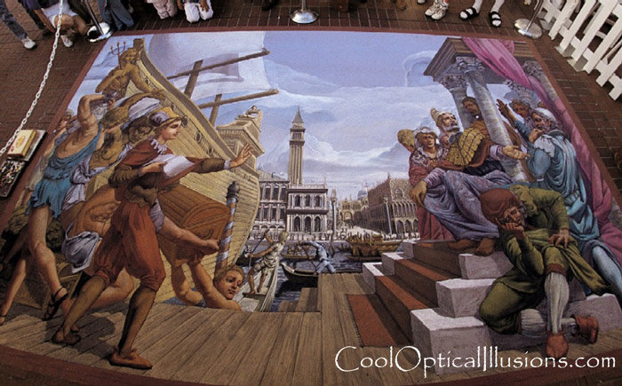 chalk art unloading ship