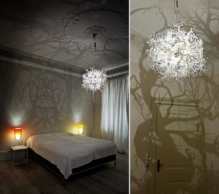 chandeliers turn room into forest