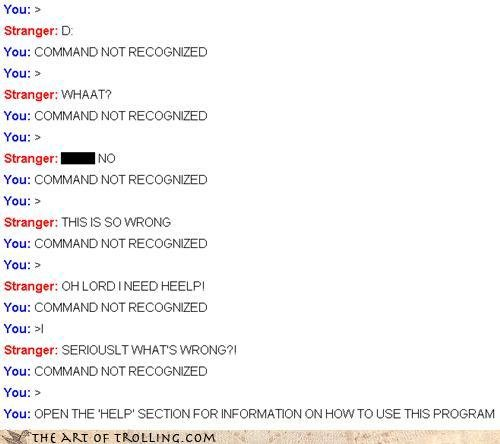 chatroulette trolling command not recognized