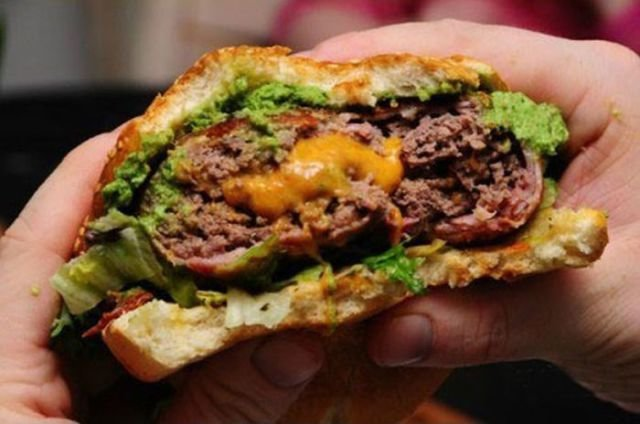 cheeseburger patty give meat overdose