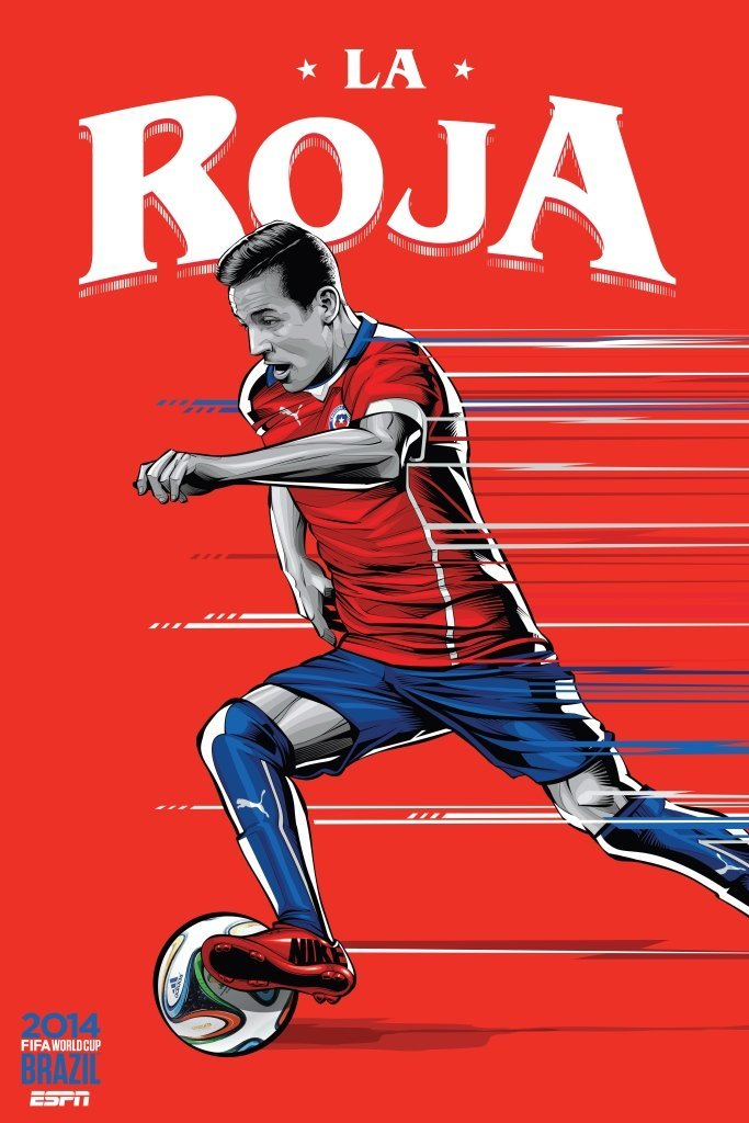 chile - world cup 2014 team posters