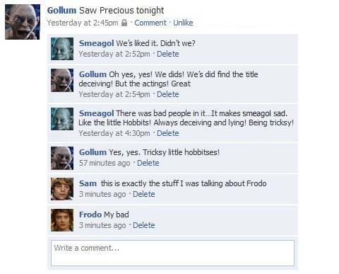 collegehumor2a01e4ad738db2674f7d9055f644e8cd - lord of the rings facebook status updates