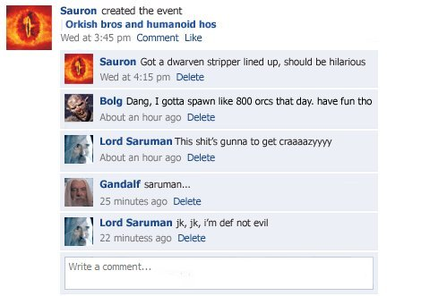 collegehumor622cda6ef0de9f9b7e950493b3c02fb7 - lord of the rings facebook status updates