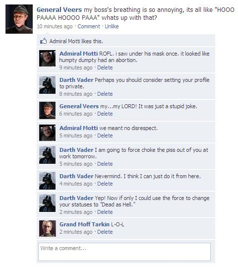 collegehumor dcf72ed359985c910fef232133945a23 - if star wars characters had facebook