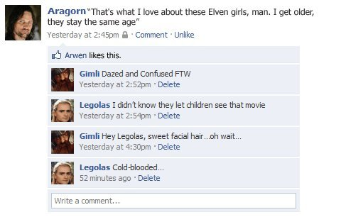 collegehumordd076965ed456aea210c8e4be77c342b - lord of the rings facebook status updates