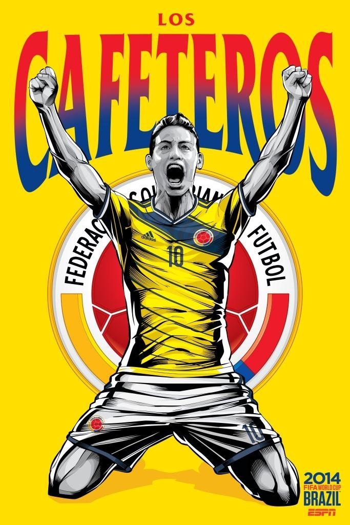 colombia - world cup 2014 team posters