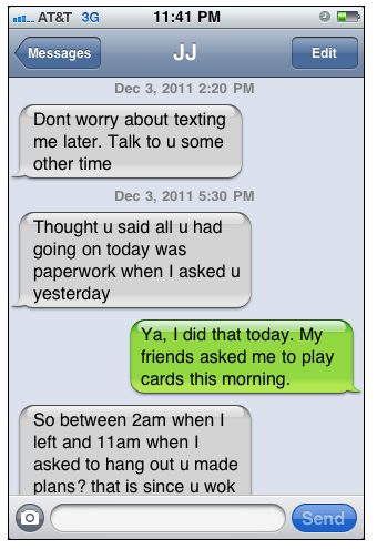 crazy chick text message