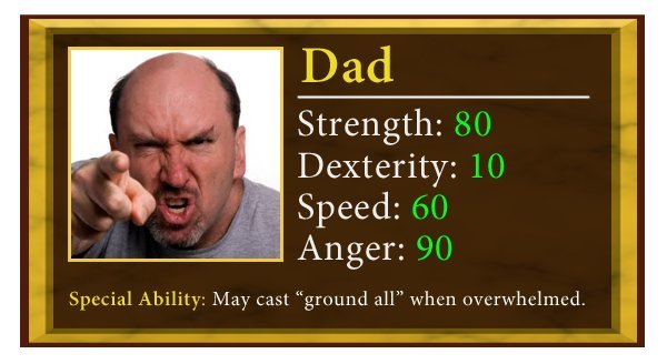 dad - 7 family members and their stats
