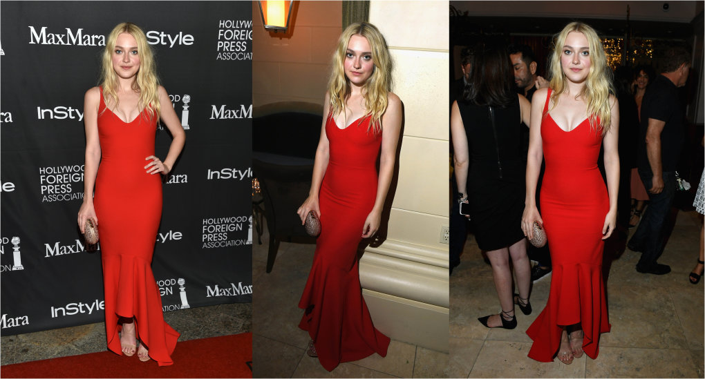 dakota fanning tight red dress showing off her boobs