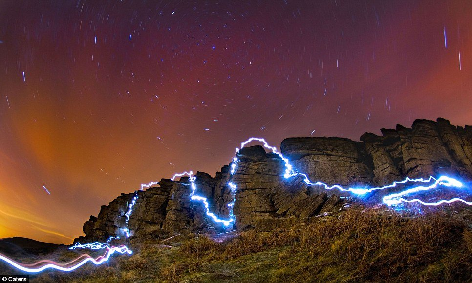 dan arkle light painting while climbing stanage peak district