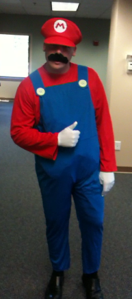 dressed like mario for offices costume contest only dressed month long