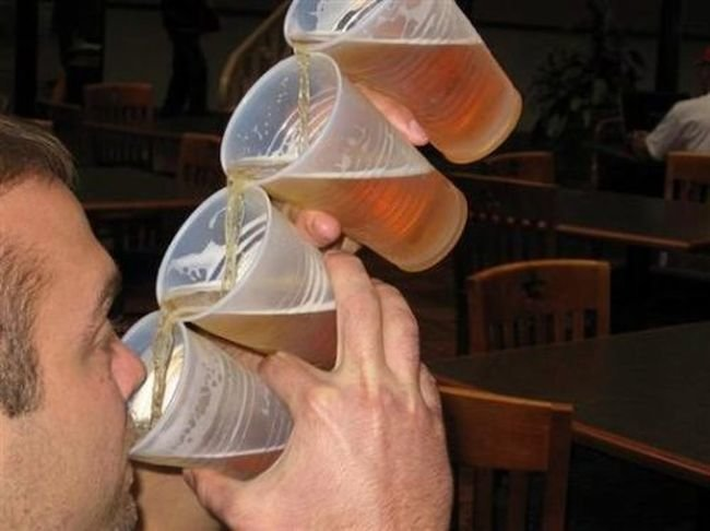 drinking four cups beer