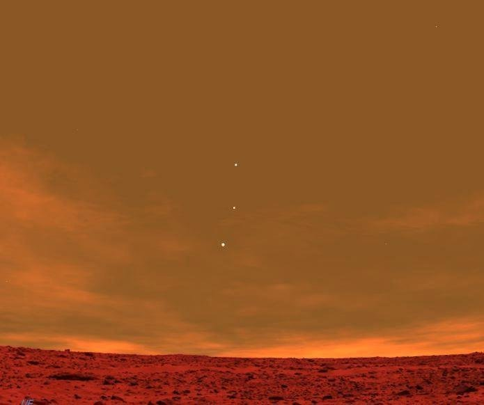 earth venus jupiter seen from mars