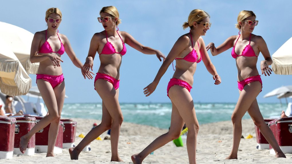 emma roberts bikini collage