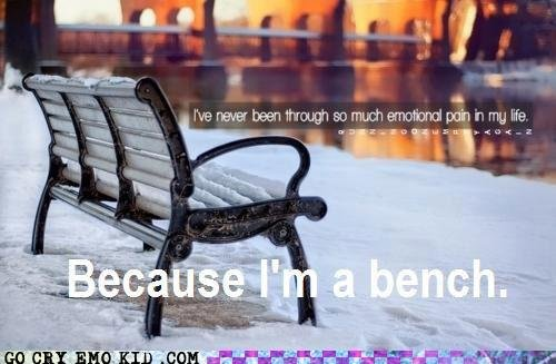 emo scene hipster benches can cry