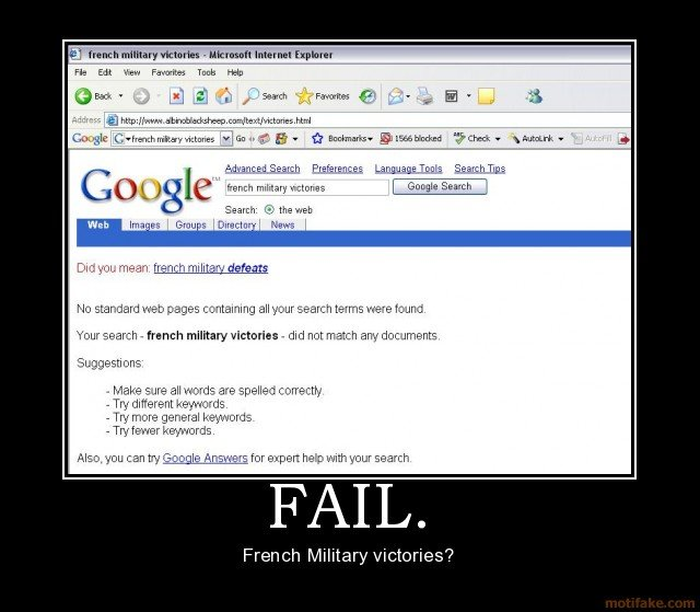 fail french military victories demotivational poster